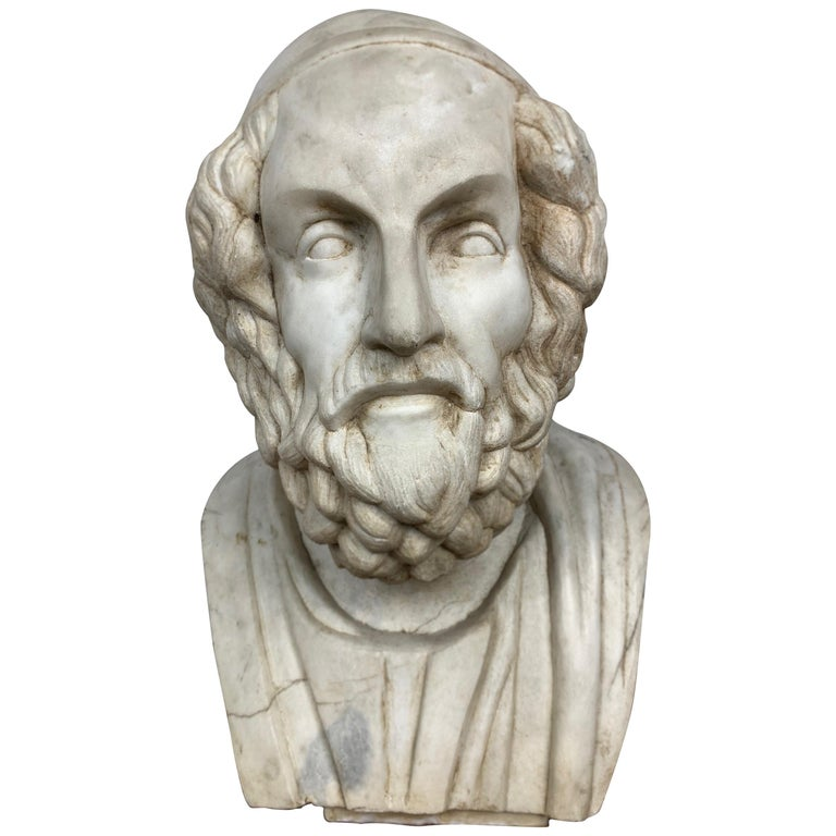 20th Century Marble Bust of Ancient Greek Poet Homer For Sale