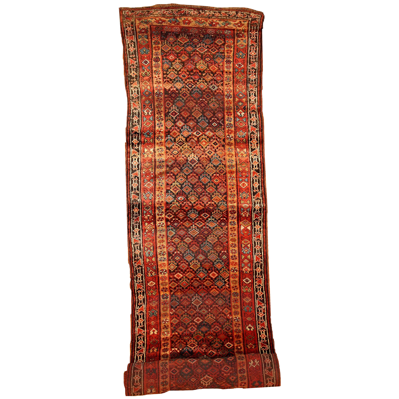 Handmade Antique Kurdish Style Runner, 1880s, 1B445