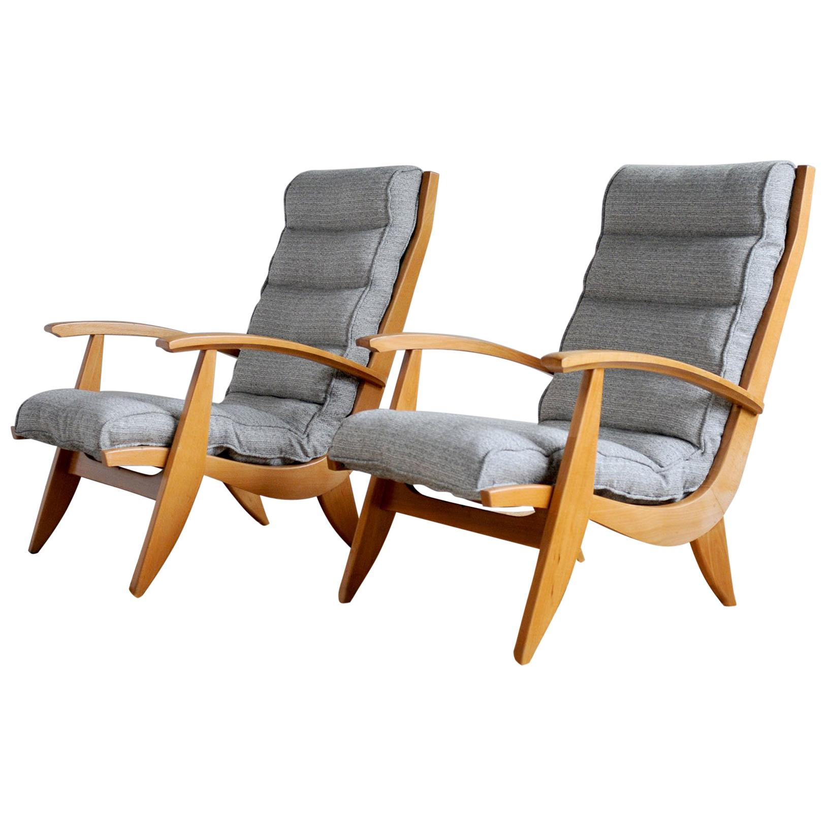 Pair of Free Span Armchairs FS 123, France, 1954