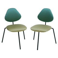 Isa Ponte Midcentury Pair of Black Lacquered Metal Cotton Satin Italian Chairs
