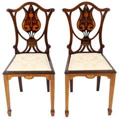 Early 20th Century Pair of Edwardian Inlaid Mahogany Side Chairs
