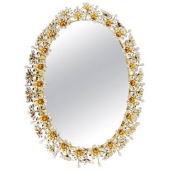 Beautiful Oval Backlit Mirror with Crystal Flowers by Palwa, circa 1960s