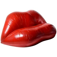 Salvador Dali Surrealist 'Salivasofa' Unique Prototype Red Lips Sofa