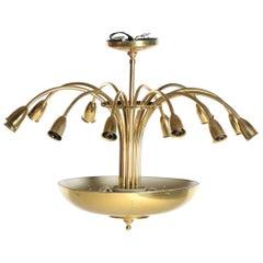 Paavo Tynell Style Brass Mid-Century Modern Light Fixture