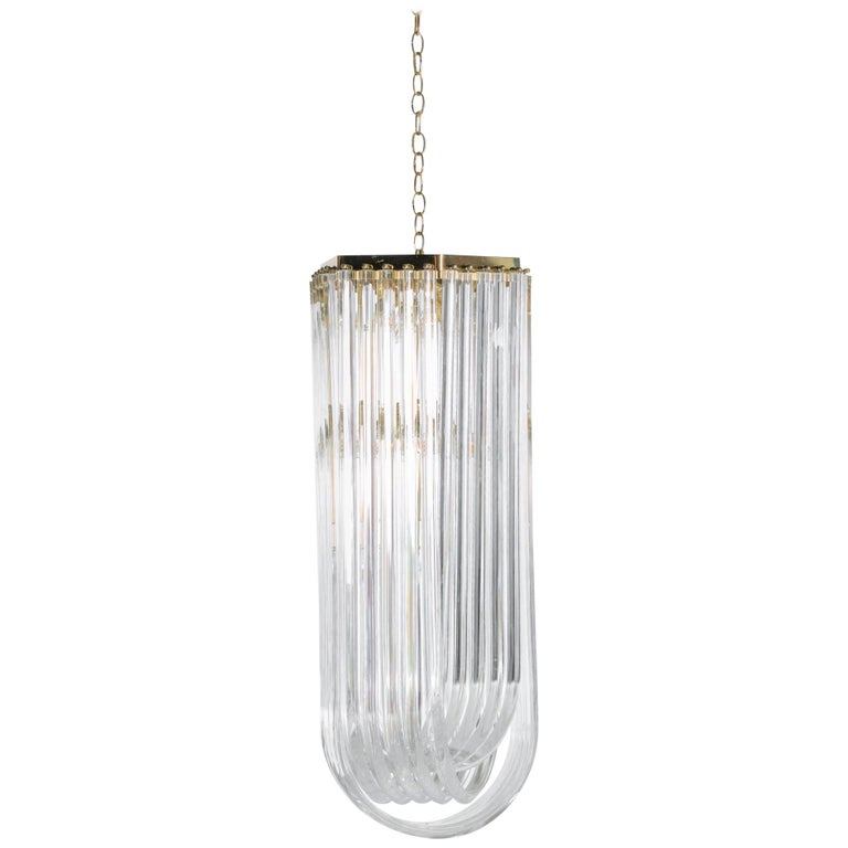 Extra Large Sculptural Lucite and Brass Chandelier, circa 1970s For Sale