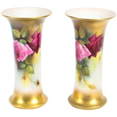 Antique Pair of Royal Worcester Porcelain Trumpet Vases 1916 in Date