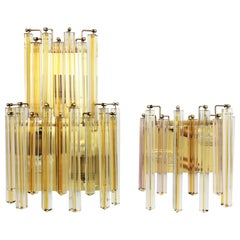 Venini Murano Triedri Wall Lights in Clear and Yellow Glass, Set of Two