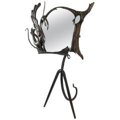 Important Mirror, Psyche Wrought Iron Housewarming 1950s, Unique Piece