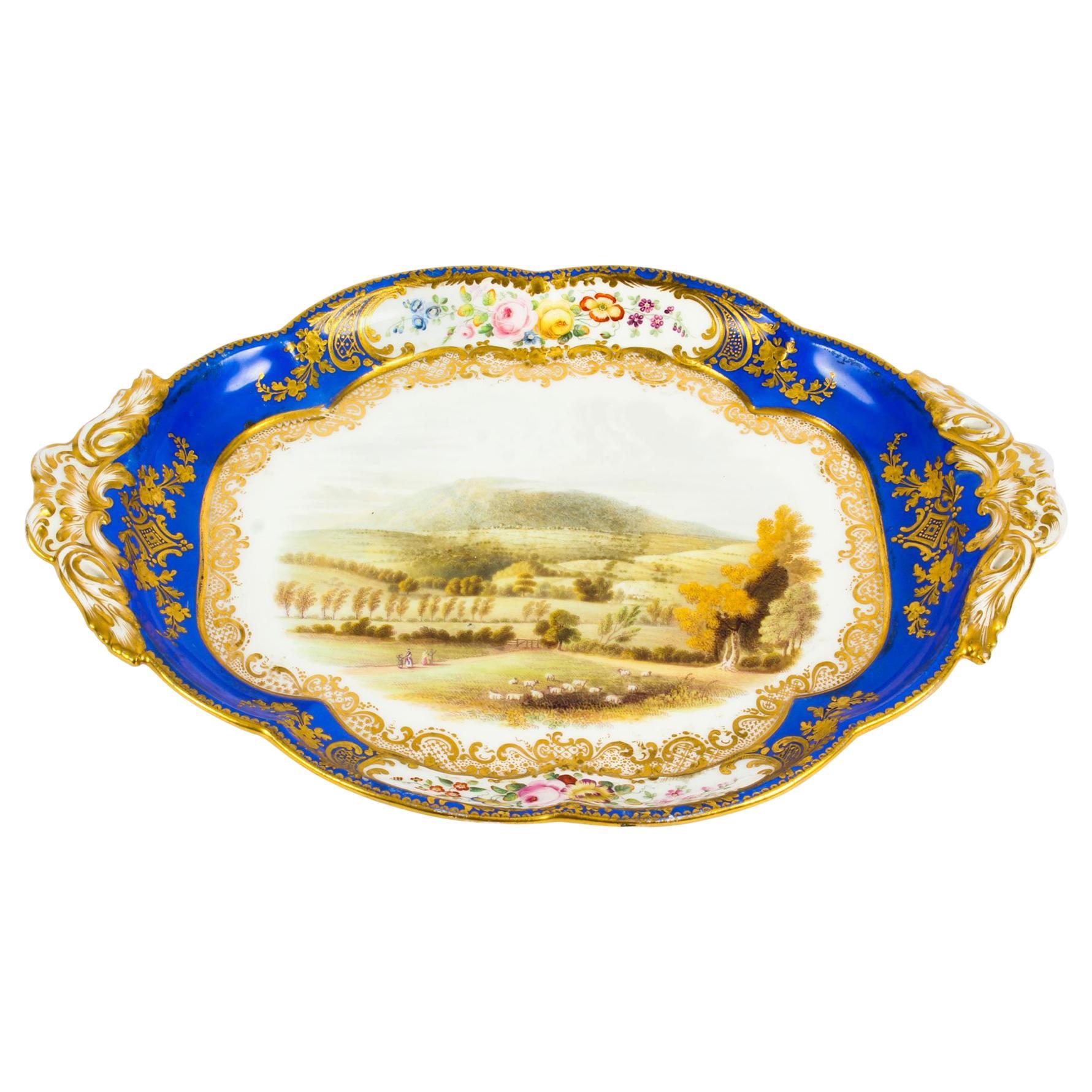 Antique Royal Worcester Porcelain Landscape Dish, 19th Century