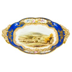 Antique Royal Worcester Porcelain Landscape Dish, 19th Century