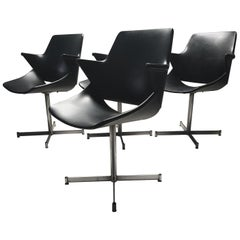 Rare Leatherette Armchairs by Geoffrey Harcourt for Artifort, 1960s, Set of 4