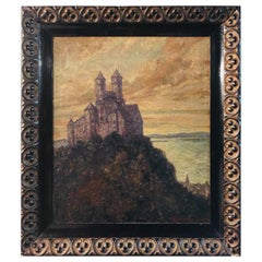 Painting Oil Painting, Castle on a Hill Overlooking the Sea, Signed