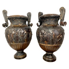 Pair of Cast Bronze Neoclassical Roman Style Urns