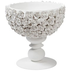 Bowl Coco Camellias, Matt White Ceramic, Italy
