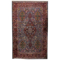 Handmade Antique Yazd Style Rug 1910, 1B494