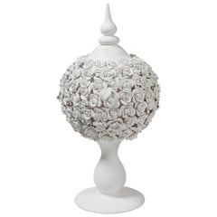 Fruit Stand Sphere Coco Camellias, Matt White Ceramic, Italy