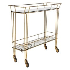 Hollywood Regency Metal Trolley, Bar Cart or Side Table by Erdecor, France