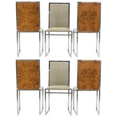 Set of Six Midcentury Chairs Metal Arredo Milan Chrome Burl, 1970s