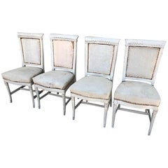 Set of Four Superb 1900s Painted French Dining Chairs