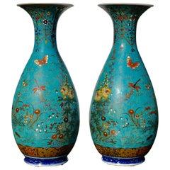 Japanese Meiji Cloisonné Porcelain Shippo Vases