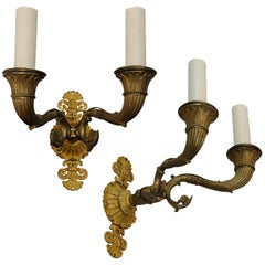 Pair of 1st Empire French Napoleonic Period Gilt Bronze Wall Lights, circa 1820