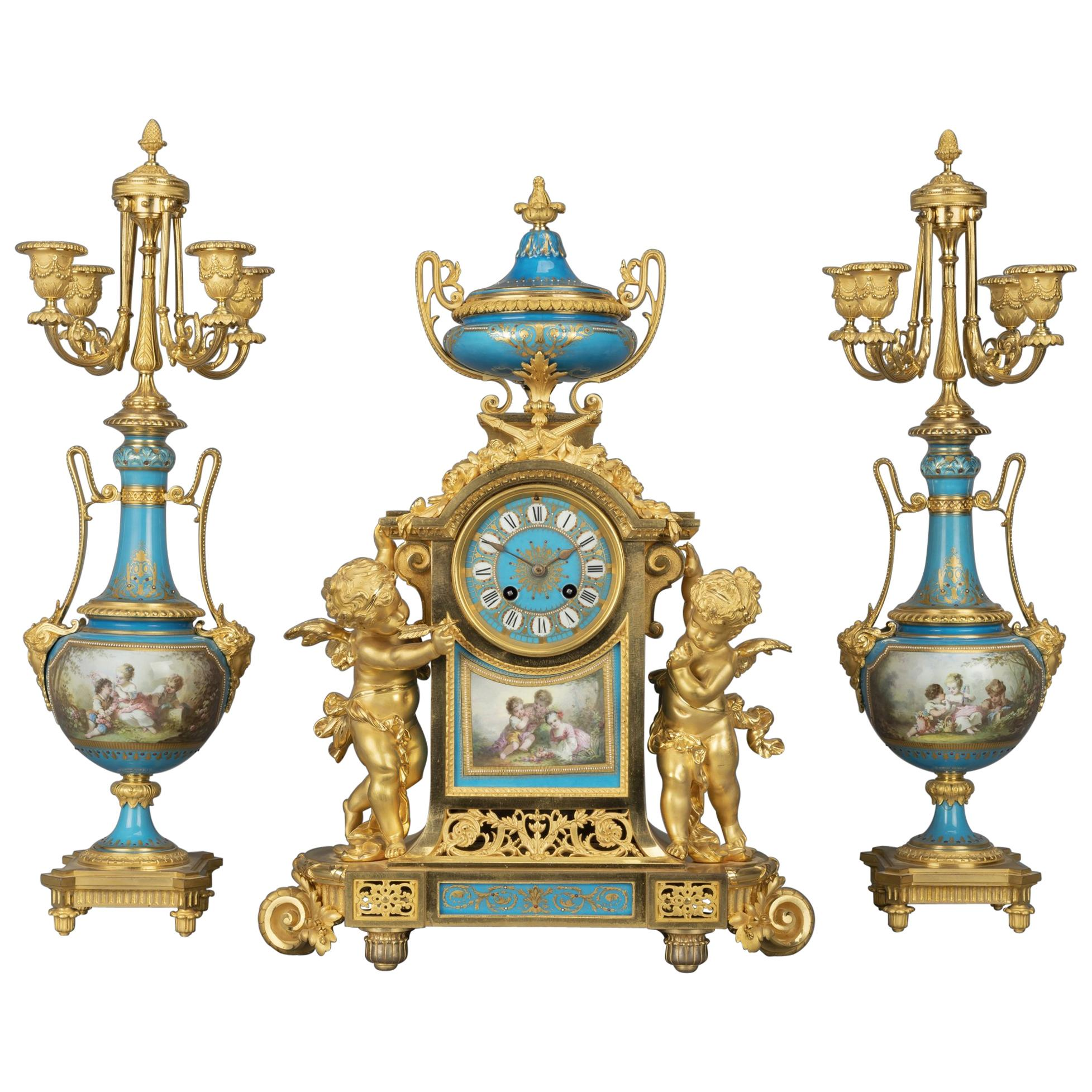Important Napoléon III Gilt-Bronze and Porcelain Clock Garniture, circa 1870
