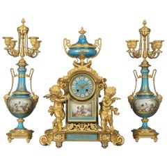 Important Napoléon III Gilt-Bronze and Porcelain Clock Garniture, circa 1870