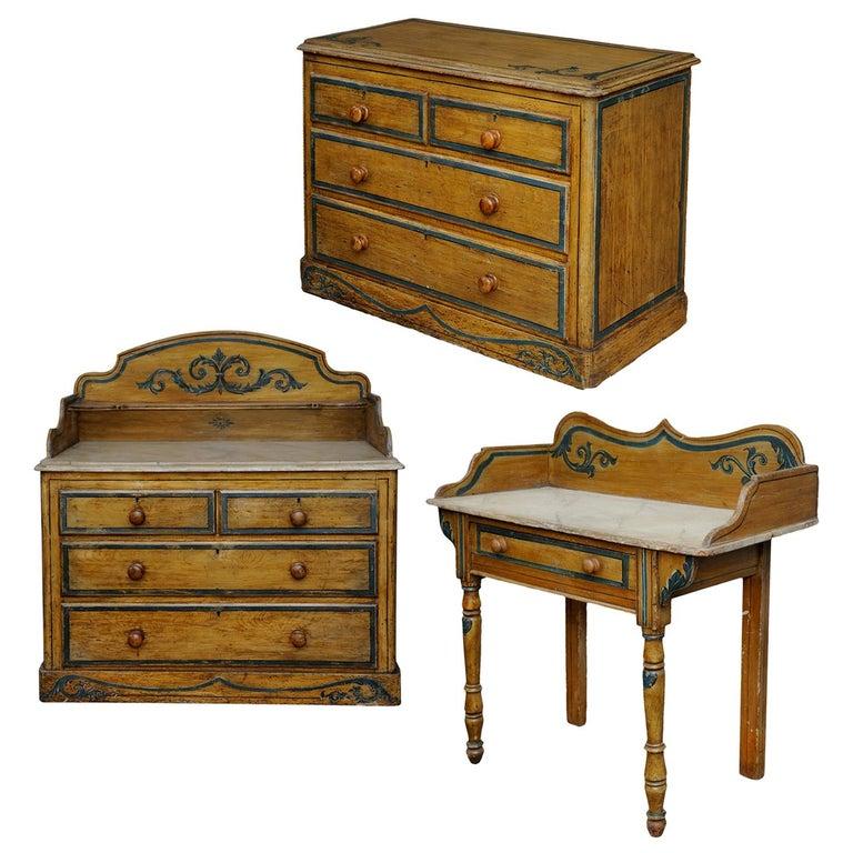 Mitte Des 19 Jahrhunderts Suite Englischen Bemalter Möbel Um