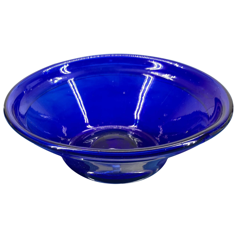 Early Swedish 19th Century Blue Glass Candy Bowl or Yoghurt Dish