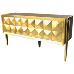 Post-War Blue Glass and Brass Sideboard