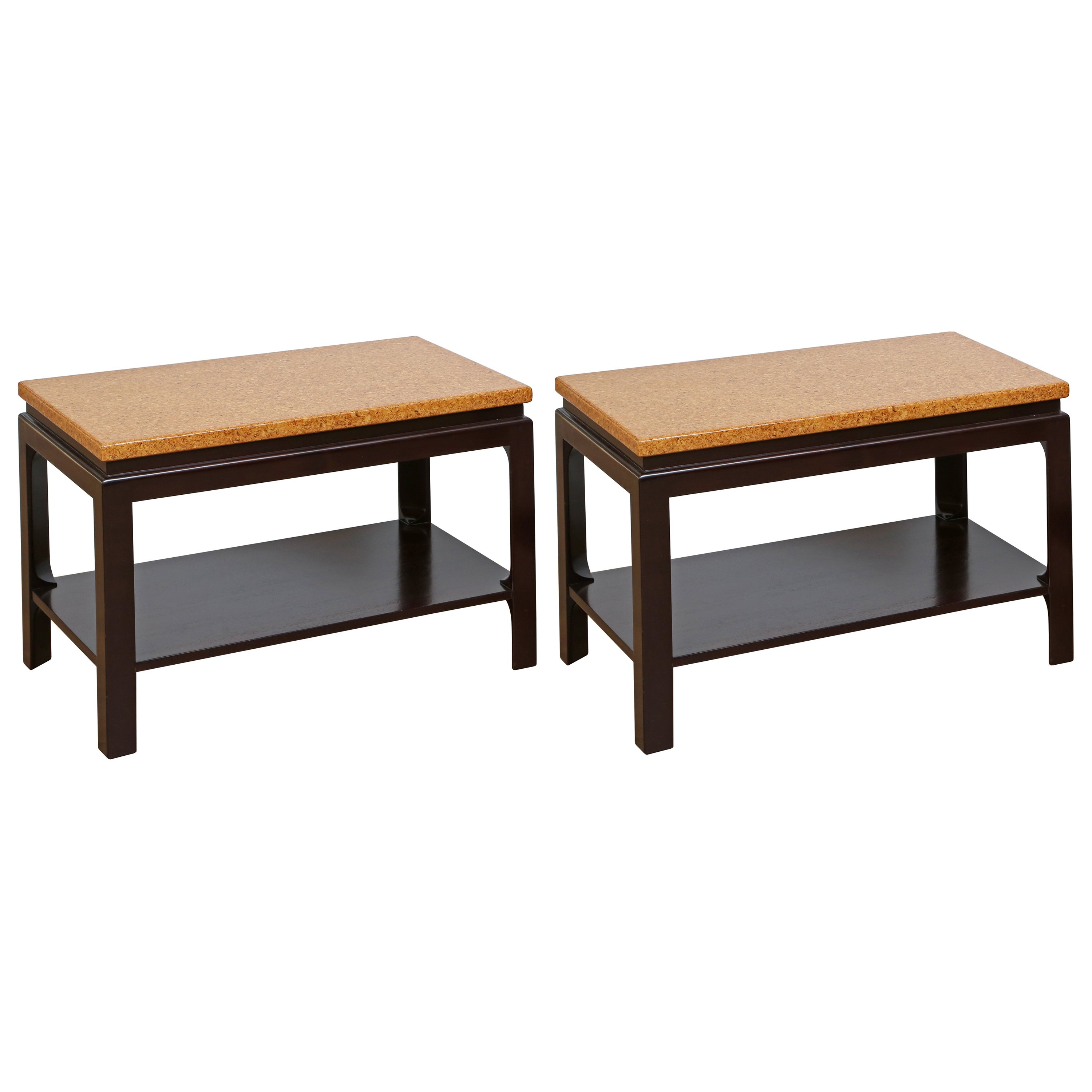 Pair of Two-Tier Cork Top End Tables by Paul Frankl