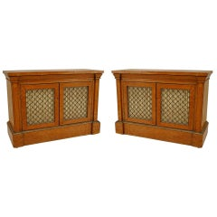 Pair of English Regency Gilt Trimmed Satinwood Cabinets, circa 1820