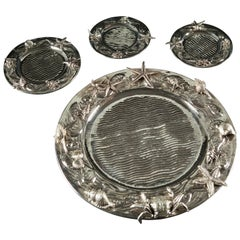 20th Century Set of 36 Engraved Sterling Silver Marine Plates Italy, 1960s