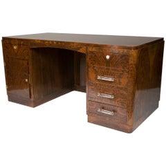 Art-Deco-Schreibtisch aus Nussbaum mit wolkenförmigem Rücken