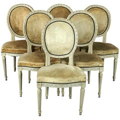 Set of 6 Antique French Painted Louis XVI Chairs