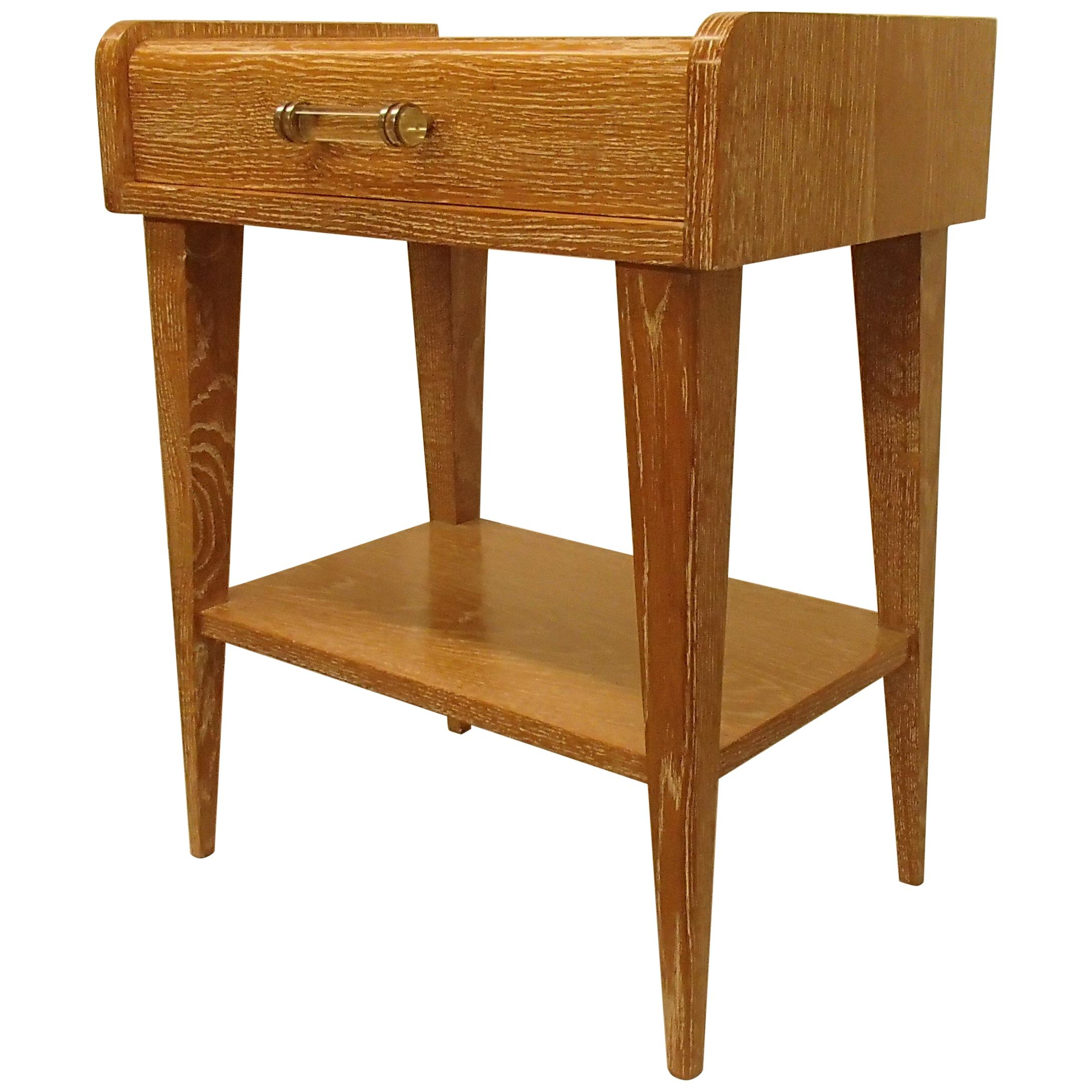 1940 This Nightstand or Side Table Cerused Oak with Glass Handle