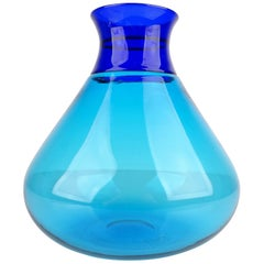 Venini  Ludovico Diaz de Santillana Murano Colletto Glass Vase, Turquoise Blue
