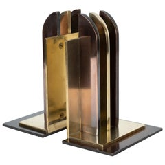Art Deco Streamlined Copper & Brass Bookends by Walter Von Nessen for Chase Co.