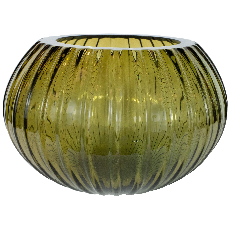 Modernist Hand Blown Murano Ribbed Smoked Emerald Glass Decorative Bowl