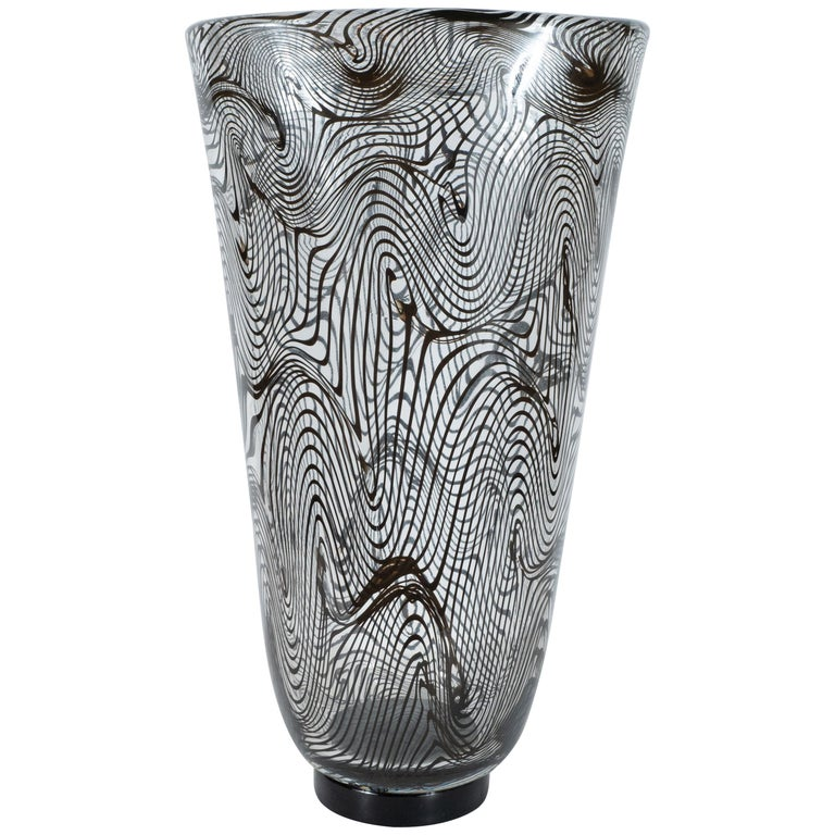 Modernist Hand Blown Murano Translucent Vase with Organic Black Swirl Detailing For Sale