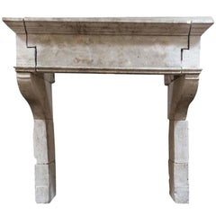Louis XIII Antique Limestone Mantel, circa 1680
