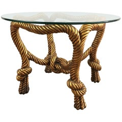 Gilt Rope Detail Glass Table
