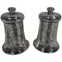 Pair of Antique Tiffany Art Nouveau Sterling Silver Pepper Grinders