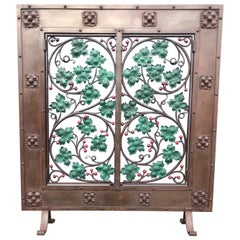 Early 20th Century Handcrafted Wrought Iron Firescreen with Branch & Leaf Decor