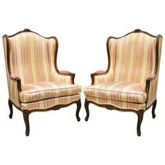 Pair of Vintage French Louis XV Style Wingback Bergere Armchairs, W & J Sloane