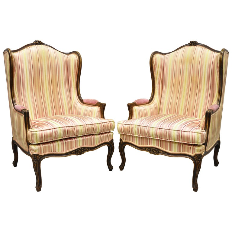Pair of Vintage French Louis XV Style Wingback Bergere Armchairs, W & J Sloane For Sale