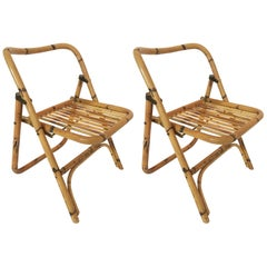 Bamboo Folding Side Chairs in the Style of Gabriella Crespi, Italy 1970s