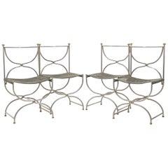 Rare Set of Ten Midcentury Steel Brass Leather Chairs Maison Jansen, 1960s