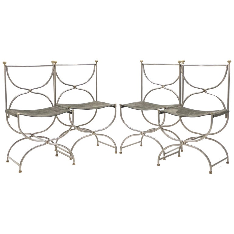 Rare Set of Ten Midcentury Steel Brass Leather Chairs Maison Jansen, 1960s For Sale