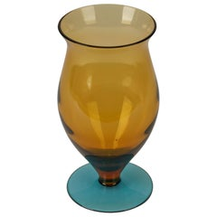 Vintage Hand Blown Two-Tone Pedestal Glass Vase, 20th Century